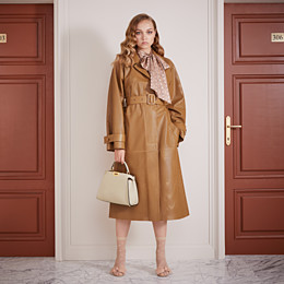 FENDI OVERCOAT - Brown leather trench coat - view 4 thumbnail