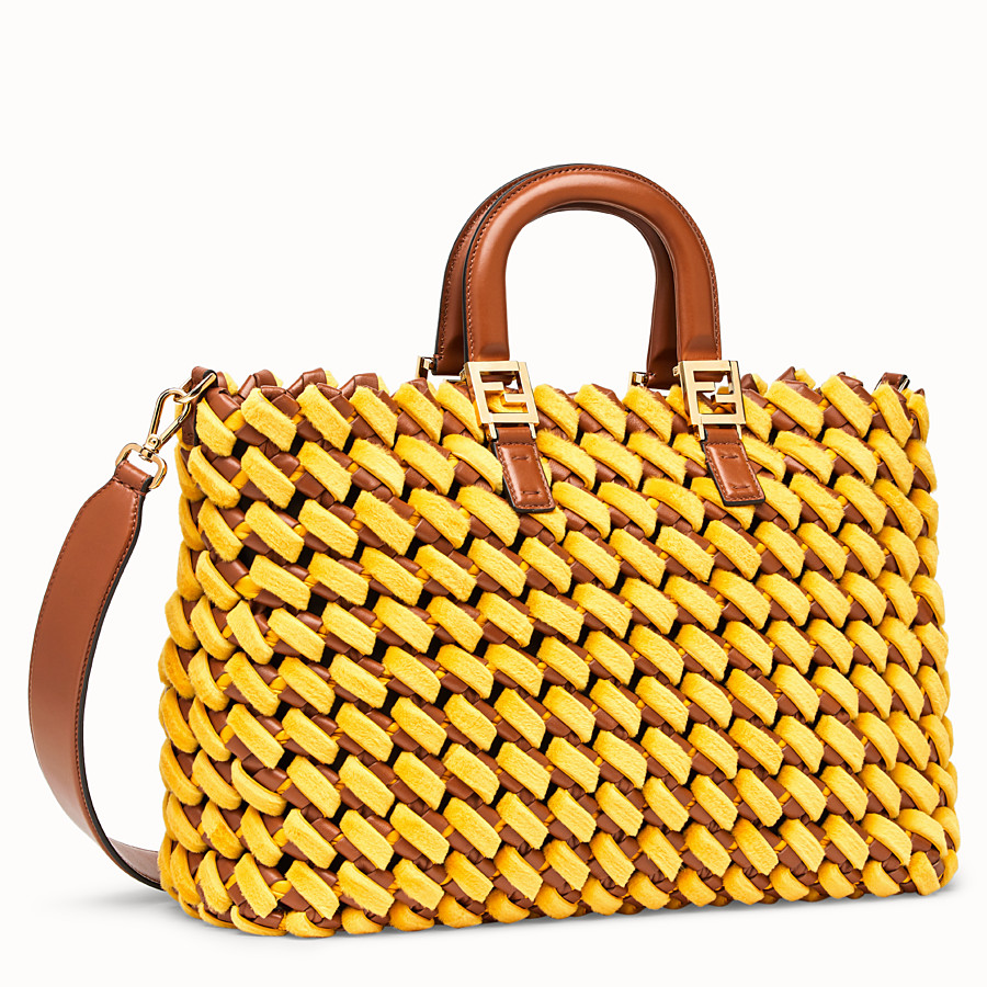 FENDI FF TOTE LARGE - Yellow nappa leather and mink bag - view 3 detail