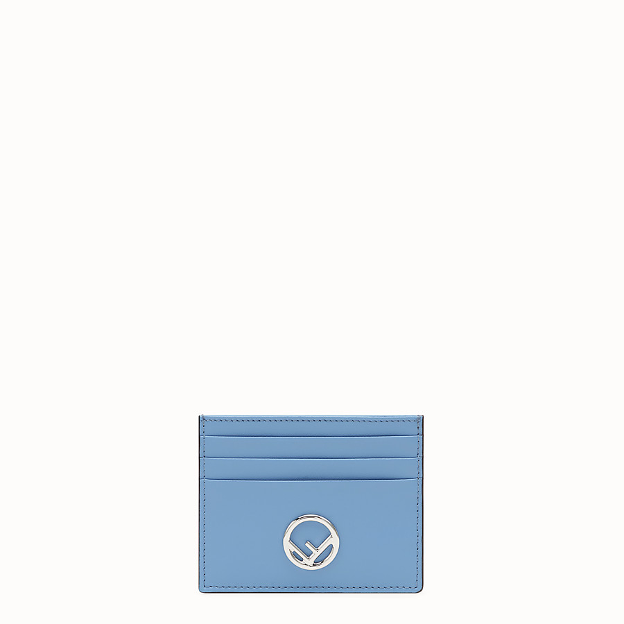 FENDI CARD HOLDER - Flat light blue leather card holder - view 1 detail
