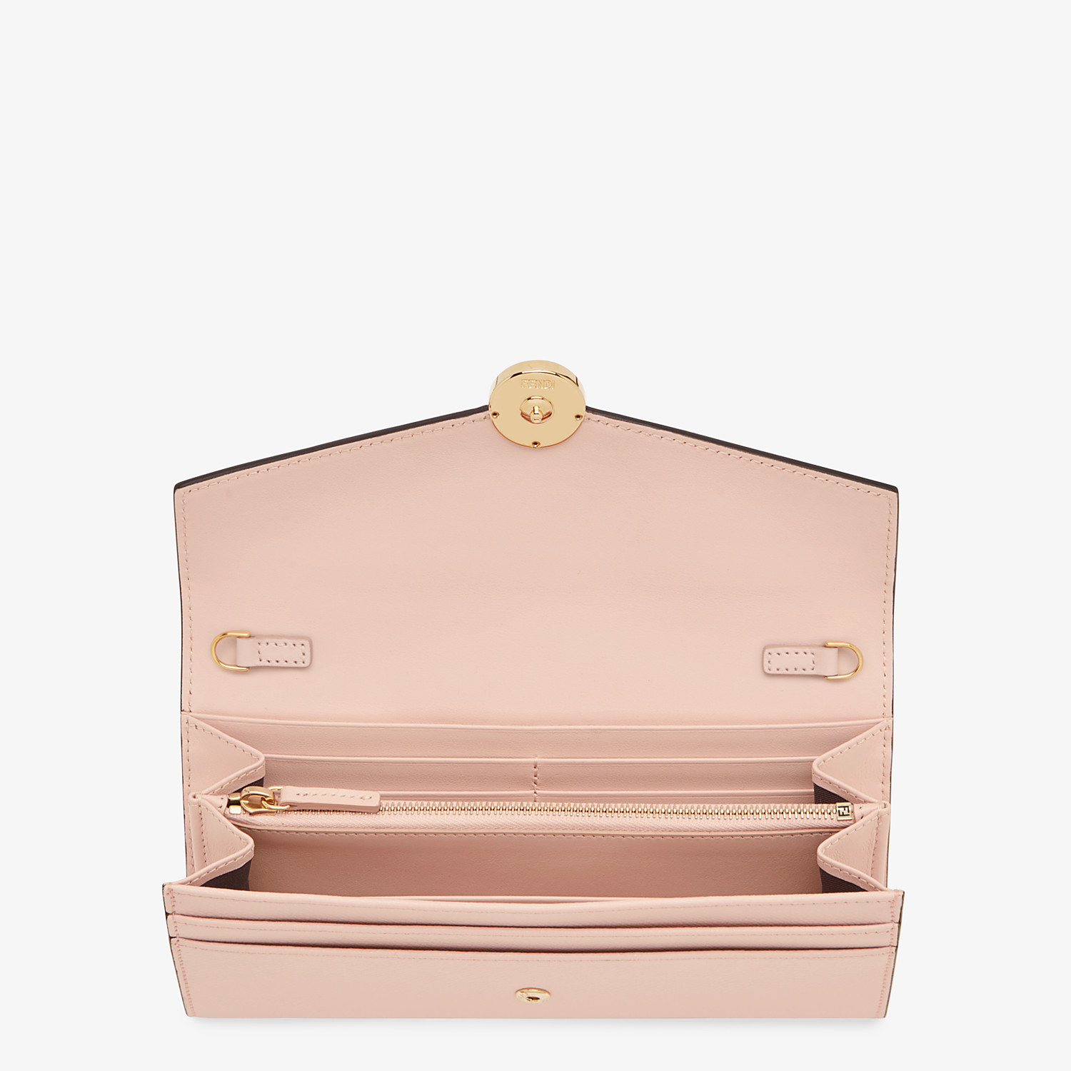 FENDI CONTINENTAL WITH CHAIN - Pink leather wallet - view 4 detail