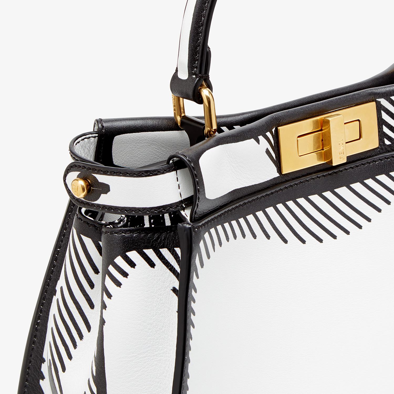 FENDI PEEKABOO ICONIC MEDIUM - White leather FF print bag - view 6 detail