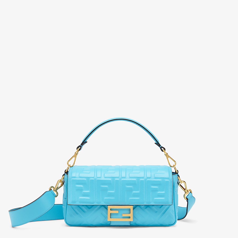 FENDI BAGUETTE - Light blue FF Signature nappa leather bag - view 1 detail