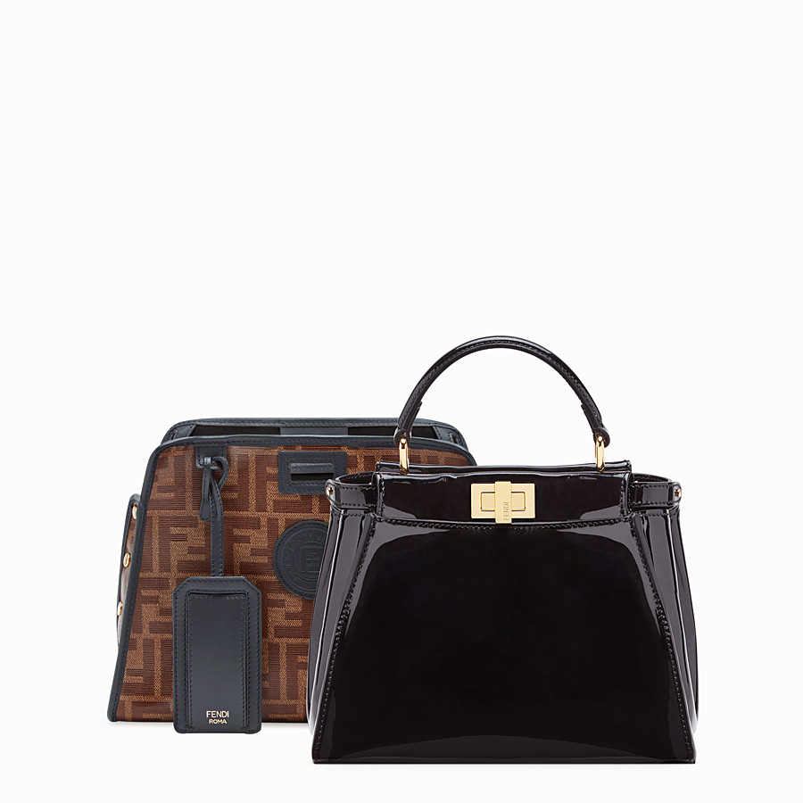 FENDI PEEKABOO DEFENDER - Black patent leather bag with cover - view 2 detail