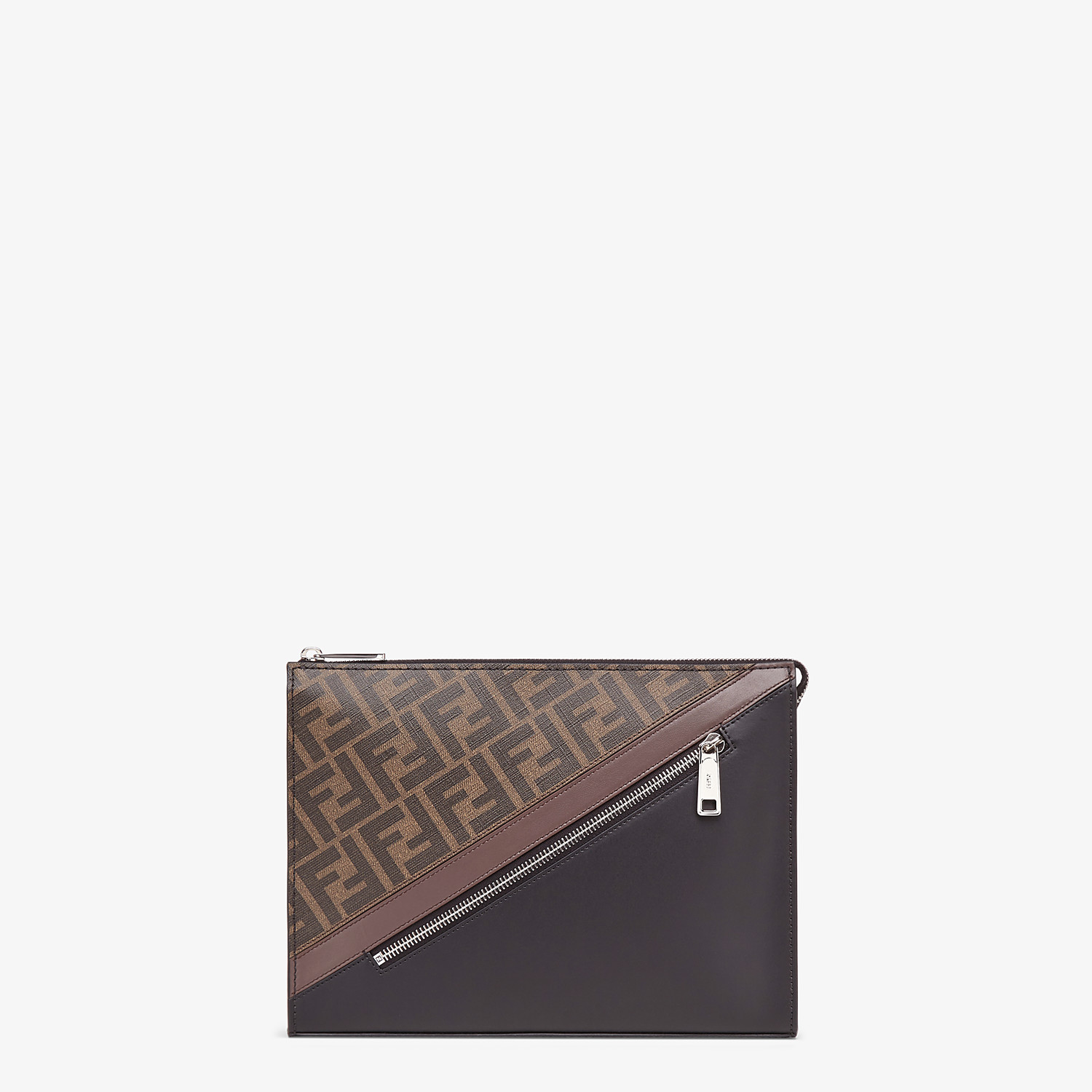 FENDI CLUTCH - Brown fabric pochette - view 1 detail