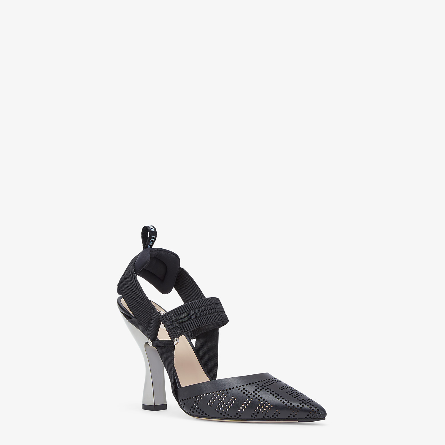 FENDI SLINGBACKS - Black leather Colibrì slingbacks - view 2 detail