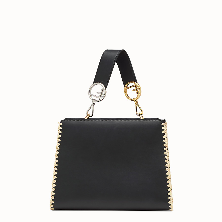 FENDI RUNAWAY SMALL - Black leather bag with exotic details - view 3 detail