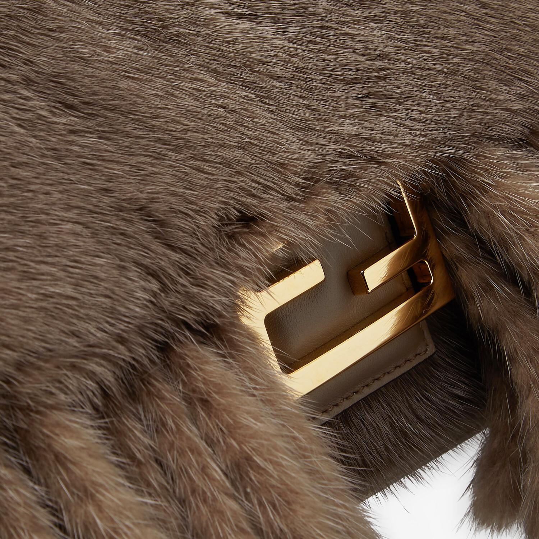 FENDI BAGUETTE - Gray mink bag with fringing - view 6 detail