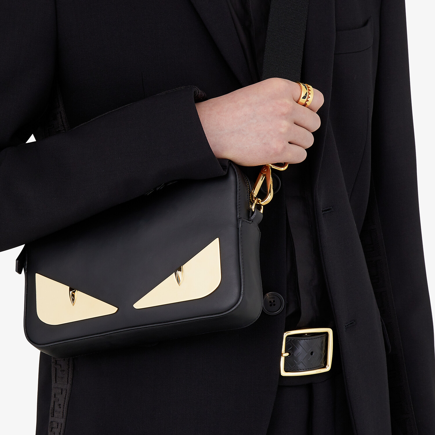 FENDI BELT - Black leather belt - view 3 detail