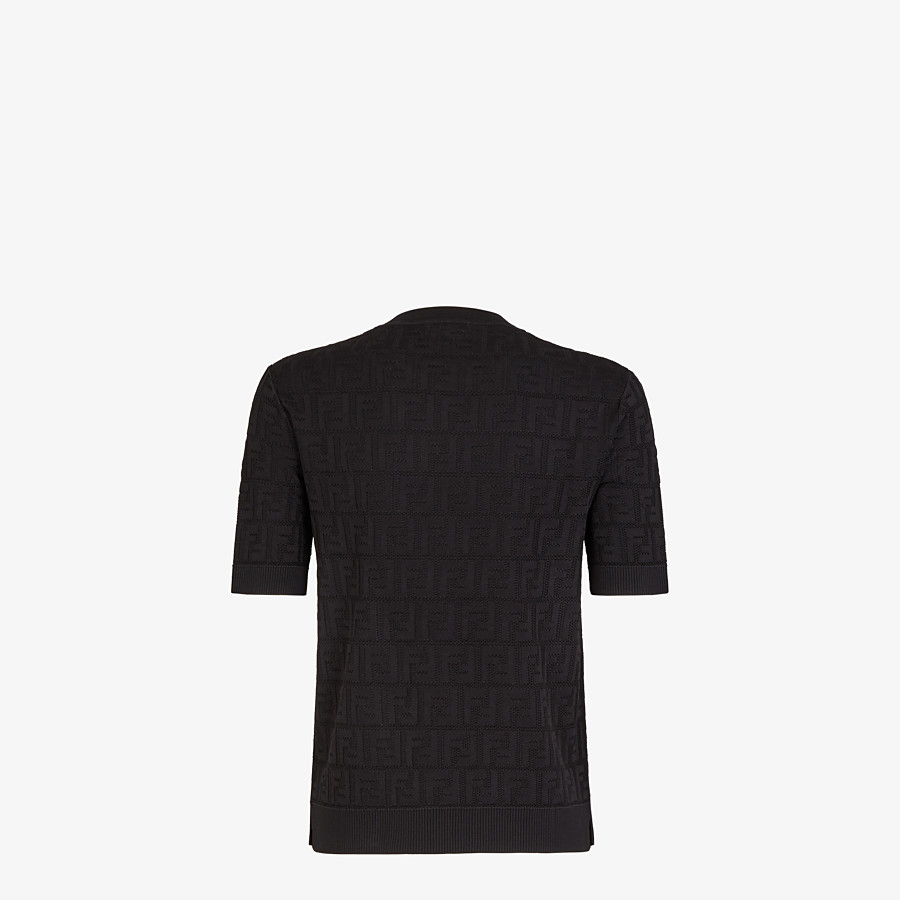 FENDI SWEATER - Black cotton and viscose sweater - view 2 detail