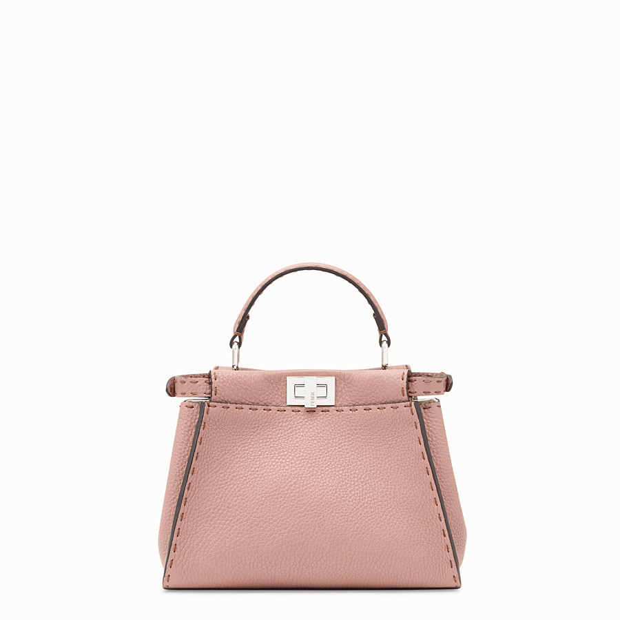 FENDI PEEKABOO MINI - Pink leather bag - view 3 detail
