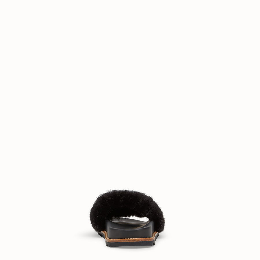 FENDI SLIDES - Multicoloured mink Fussbet sandals. - view 3 detail