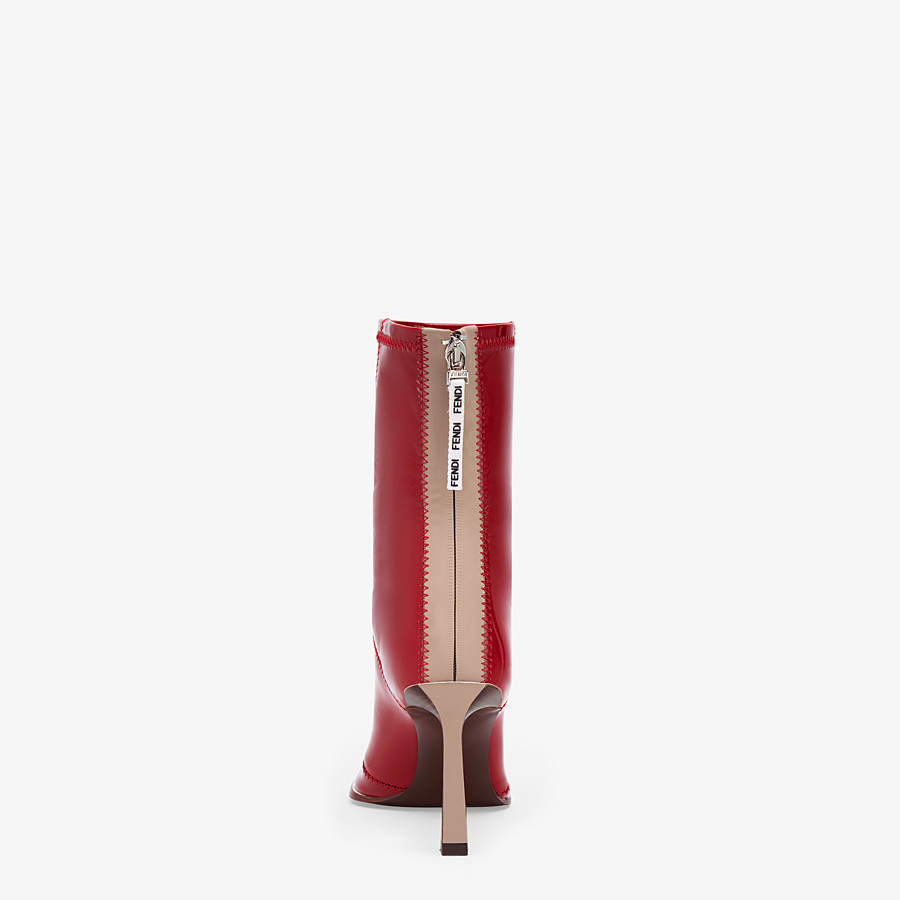 FENDI ANKLE BOOTS - Glossy red neoprene low ankle boots - view 3 detail