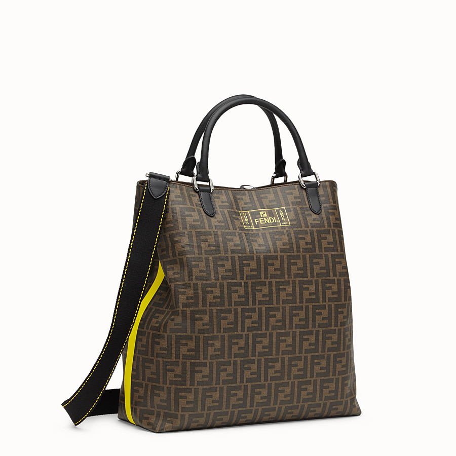 FENDI TOTE BAG - Shopper in brown fabric - view 2 detail