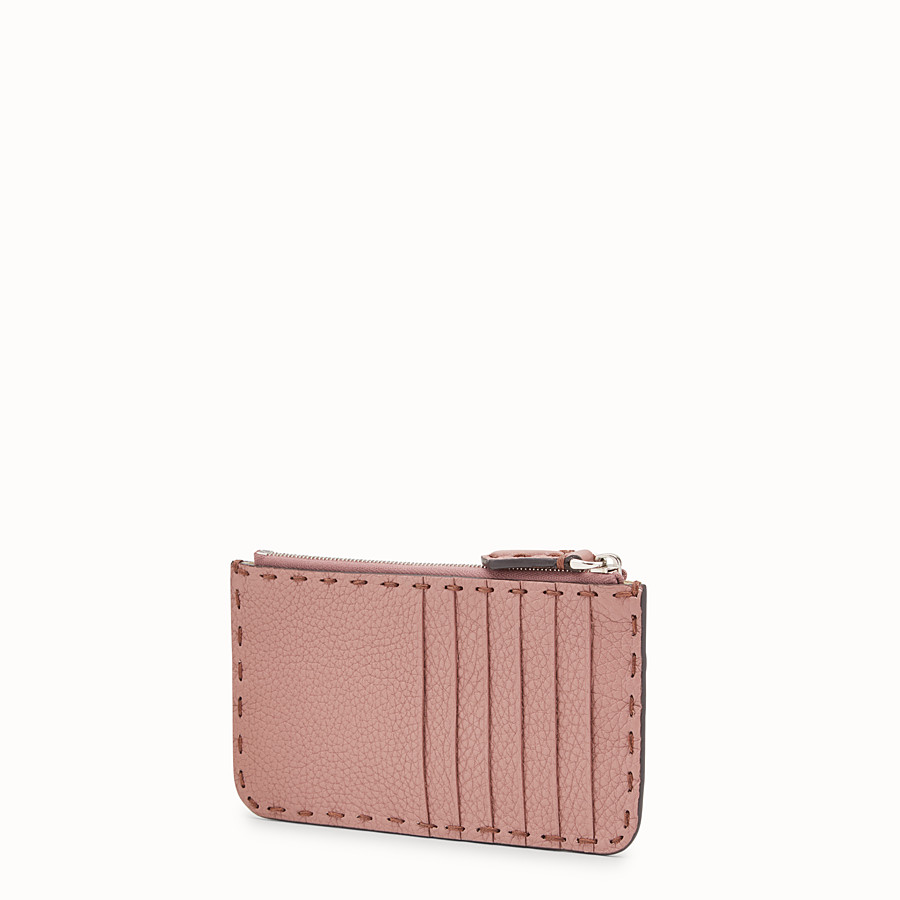 FENDI CARD POUCH - Pink leather pouch - view 2 detail