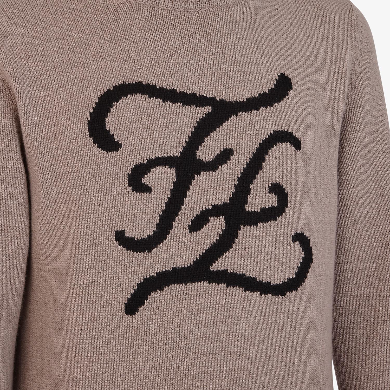 FENDI PULLOVER - Beige cashmere jumper - view 3 detail