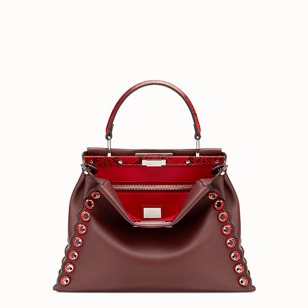 FENDI PEEKABOO REGULAR - Exotic burgundy leather bag - view 1 small thumbnail