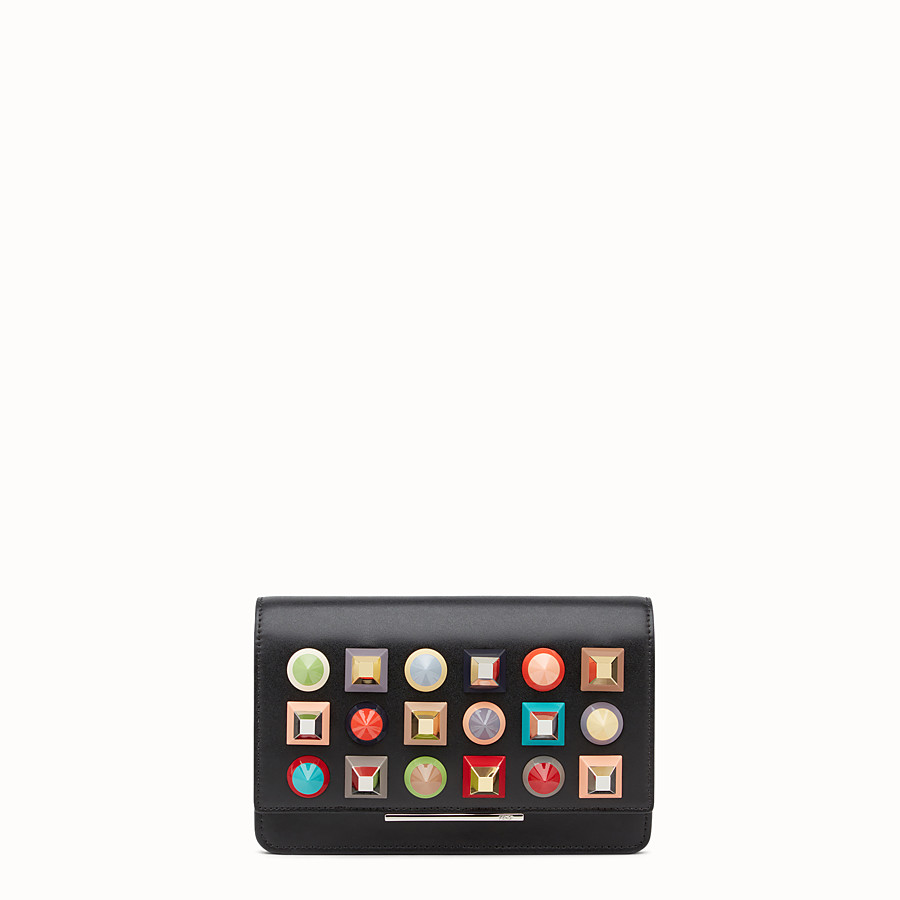 FENDI WALLET ON CHAIN - in black leather with multicoloured studs - view 1 detail