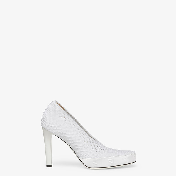 White elasticated lace pumps