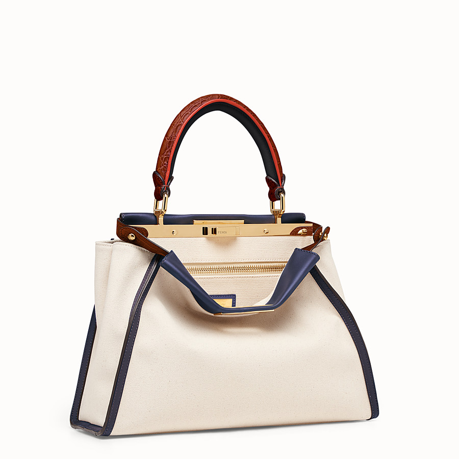 FENDI PEEKABOO REGULAR - White canvas bag with exotic details - view 2 detail