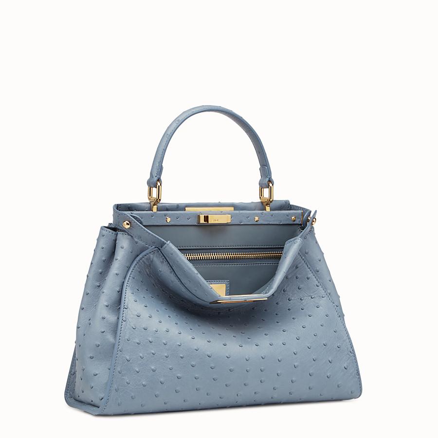 FENDI PEEKABOO REGULAR - Blue ostrich bag - view 2 detail