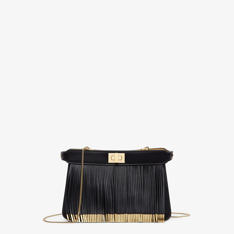 FENDI PEEKABOO I SEE U POCHETTE - Black leather bag with fringes - view 1 detail