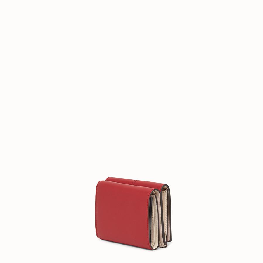 FENDI MICRO TRIFOLD - Portemonnaie aus Leder in Rot - view 2 detail