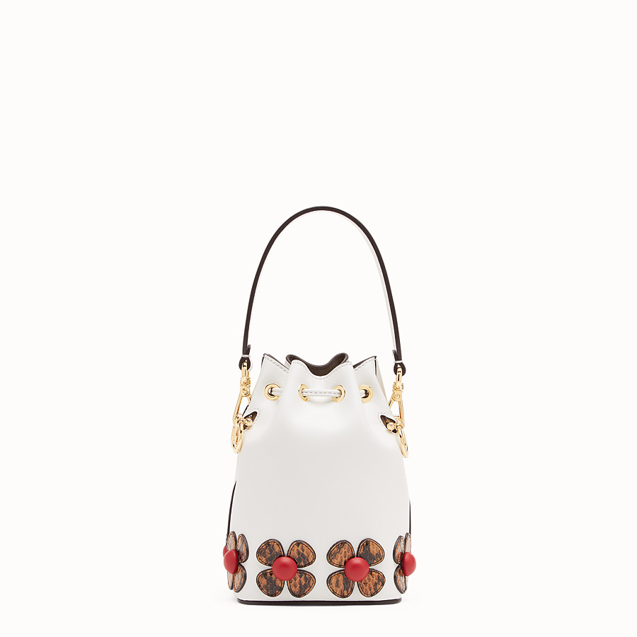 FENDI MON TRESOR - White leather mini-bag with exotic details - view 3 detail