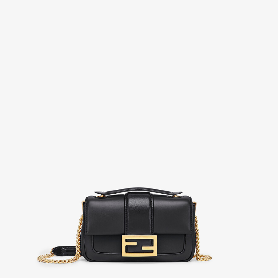 FENDI MINI BAGUETTE CHAIN - Black nappa leather bag - view 1 detail