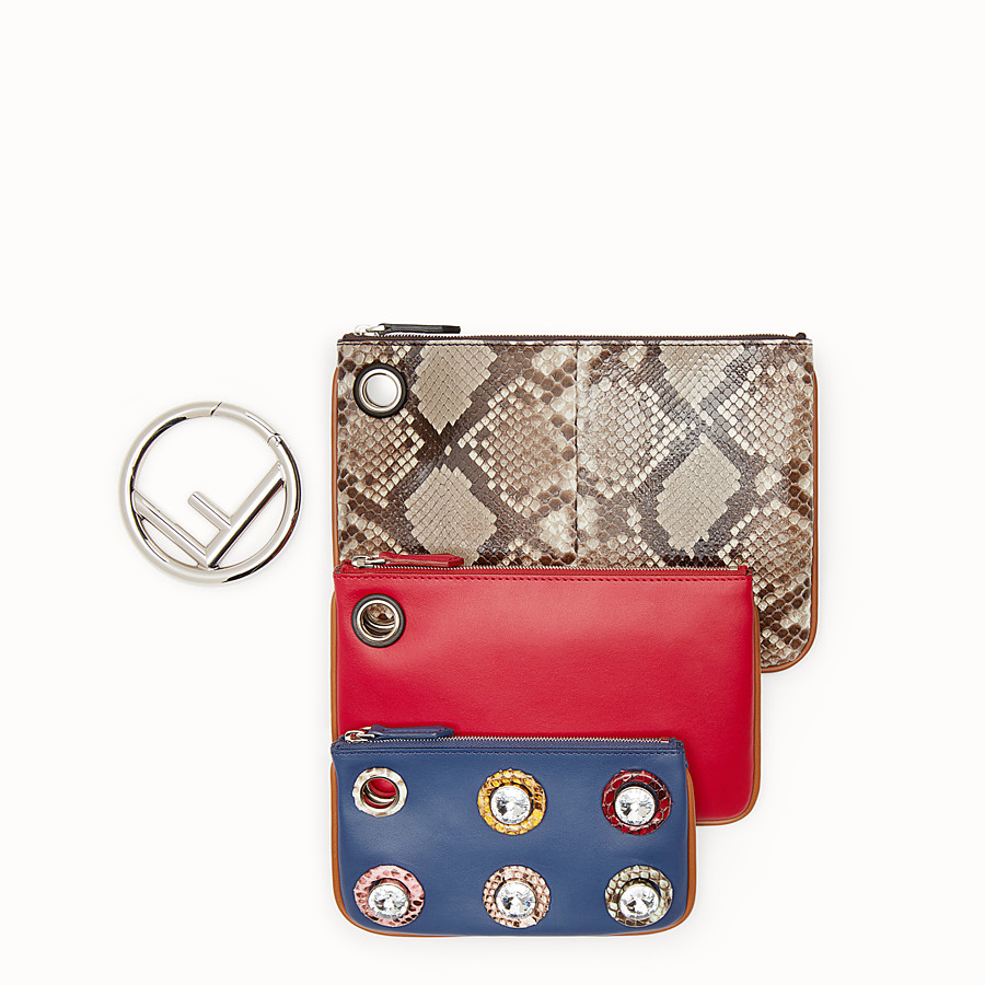 FENDI TRIPLETTE - Exotic multicolour leather pouch - view 2 detail