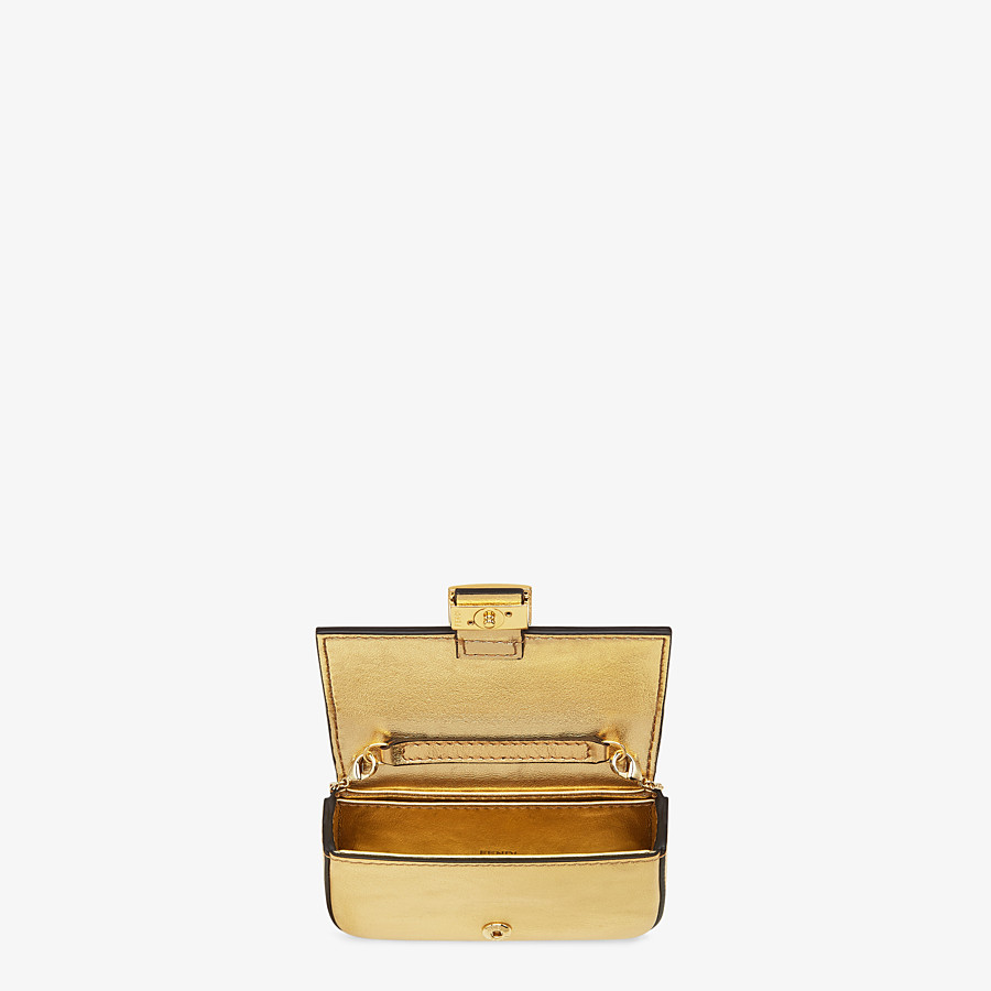 FENDI NANO BAGUETTE - Charm in golden leather - view 5 detail
