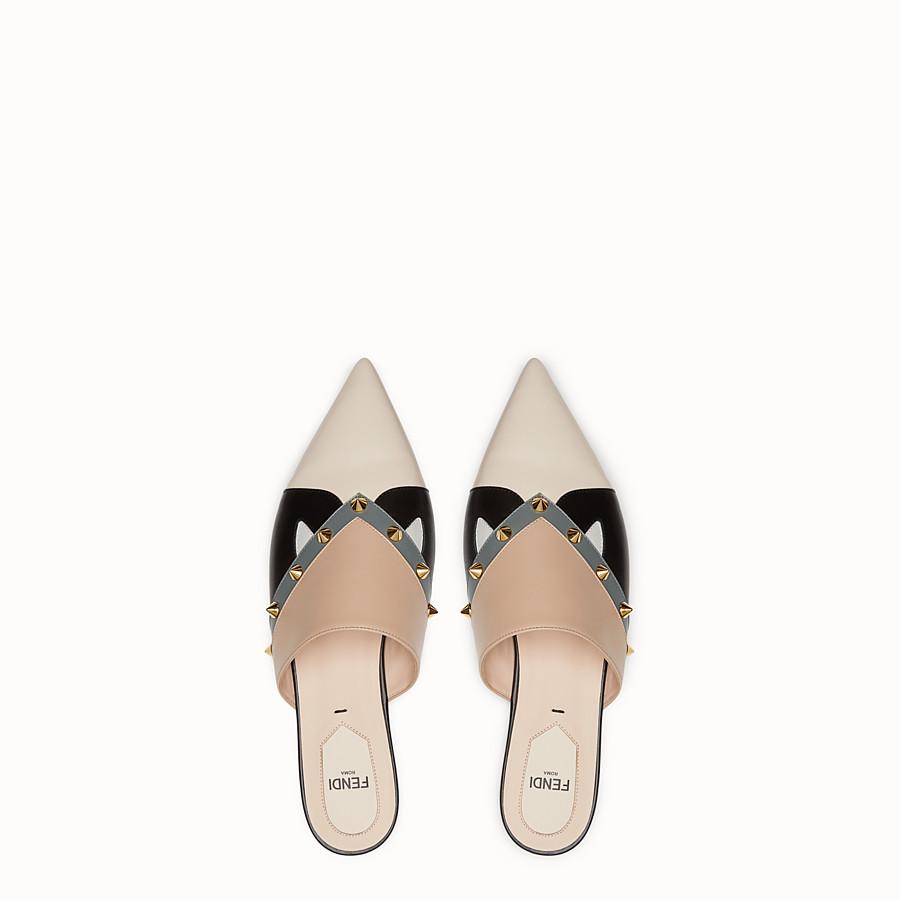 FENDI 涼鞋 - 拼色皮革平底涼鞋 - view 4 detail
