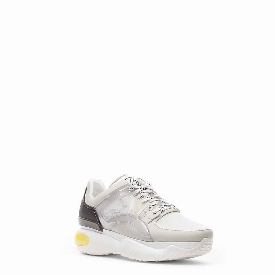FENDI SNEAKERS - White technical mesh, leather and vinyl sneakers - view 2 detail
