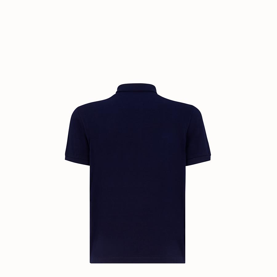 FENDI POLO SHIRT - Blue piqué polo shirt - view 2 detail