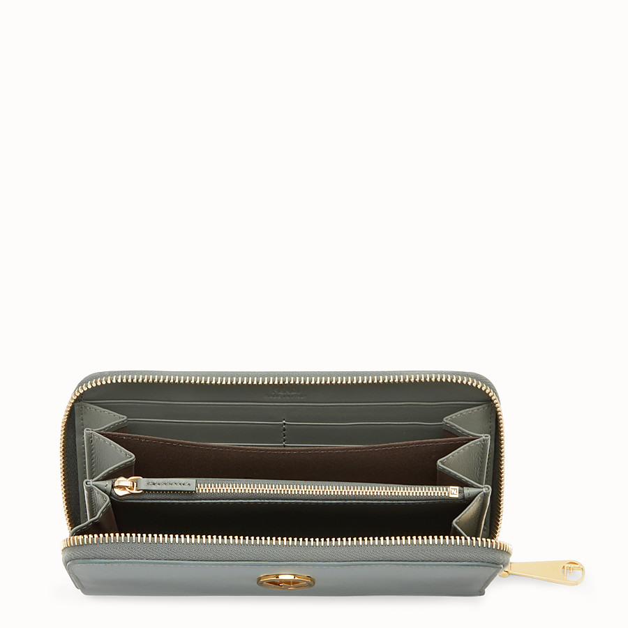 FENDI ZIP-AROUND - Green leather wallet - view 4 detail