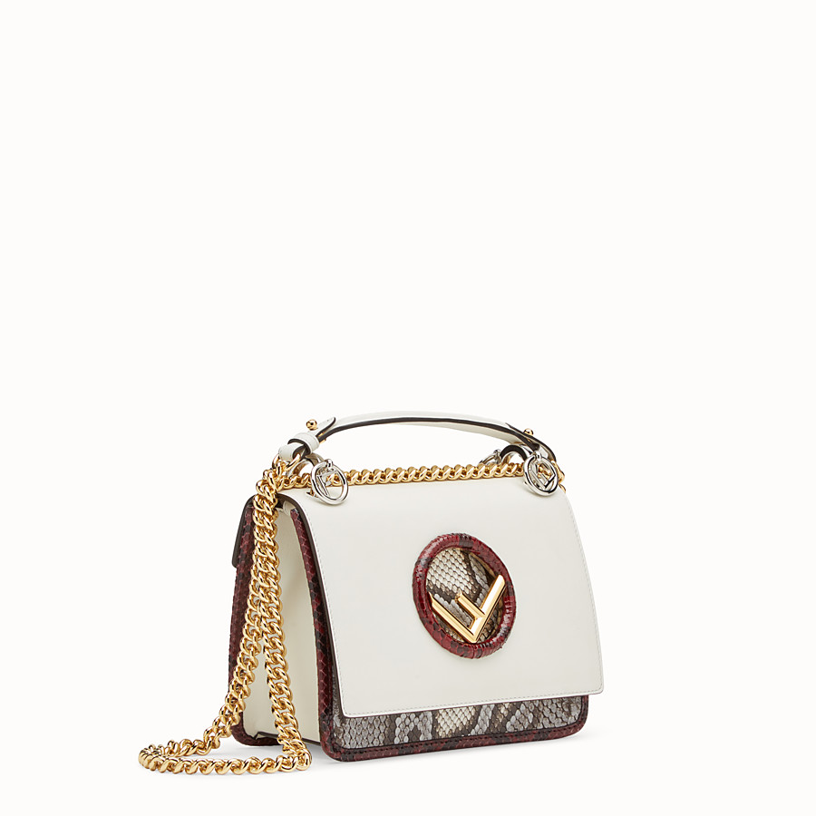 FENDI KAN I F SMALL - White leather mini-bag with exotic details - view 2 detail