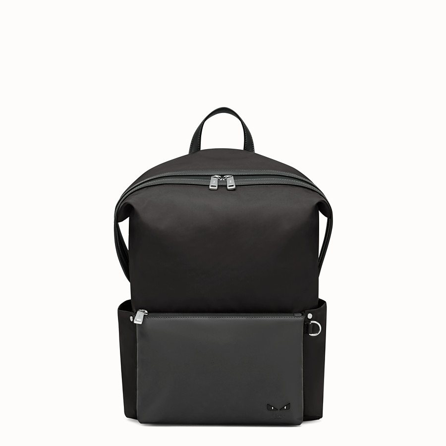 FENDI BACKPACK - Black nylon and leather backpack - view 1 detail