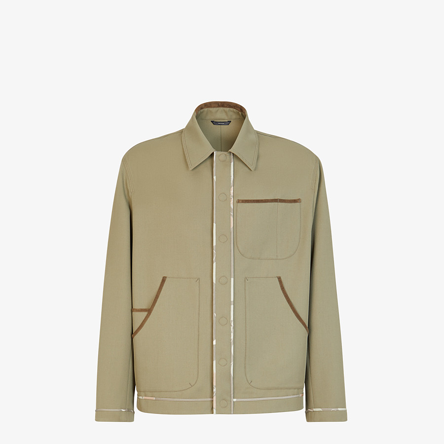 FENDI JACKET - Green twill blouson - view 1 detail