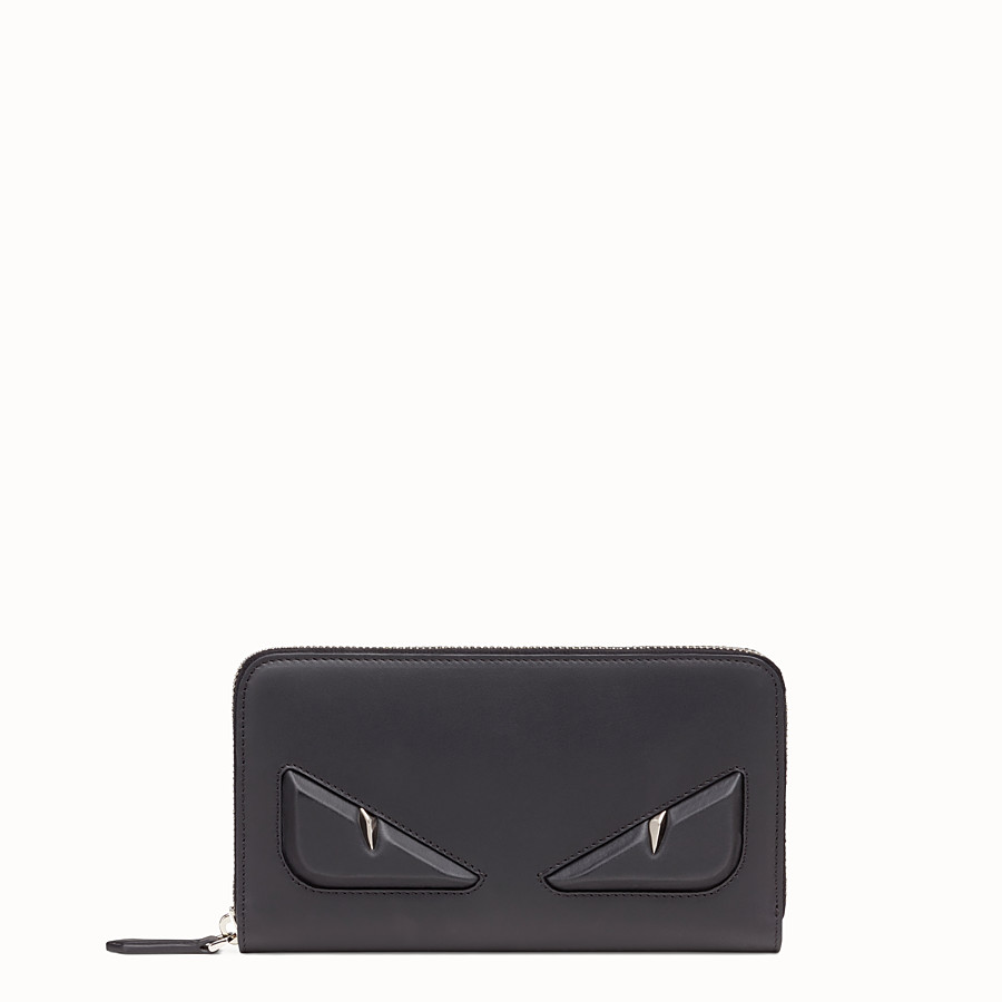 FENDI WALLET - Black leather zip-around - view 1 detail