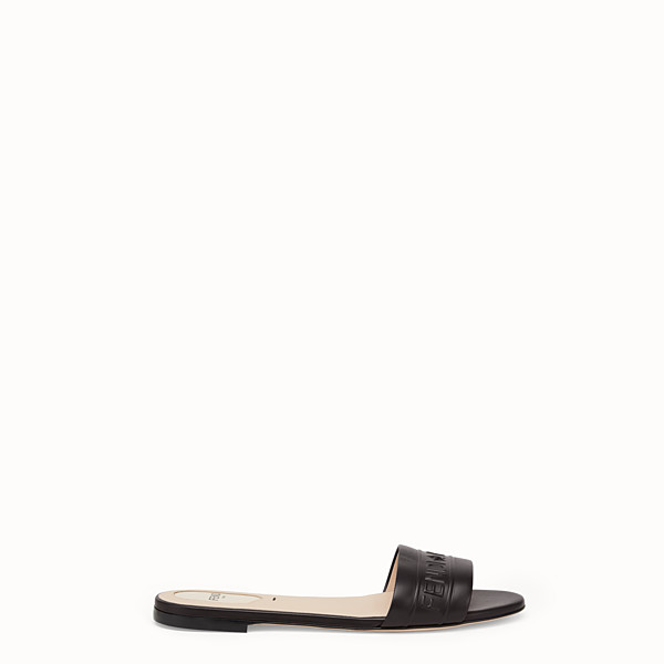 FENDI SLIDES - Black leather slides - view 1 small thumbnail