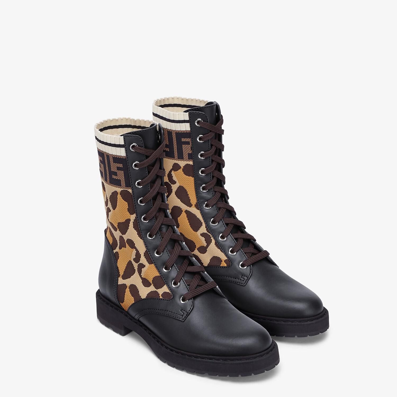 FENDI BIKER BOOTS - Black leather biker boots - view 4 detail