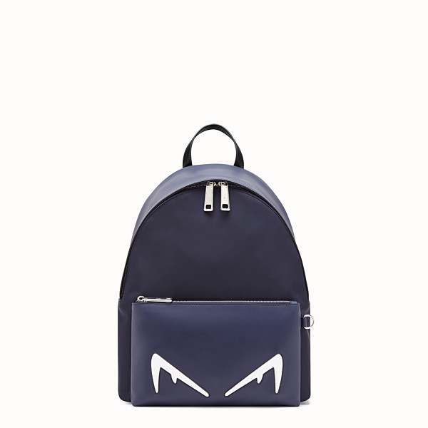 FENDI BACKPACK - Blue nylon and leather backpack - view 1 small thumbnail