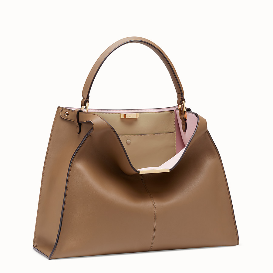 FENDI PEEKABOO X-LITE - Brown leather bag - view 3 detail