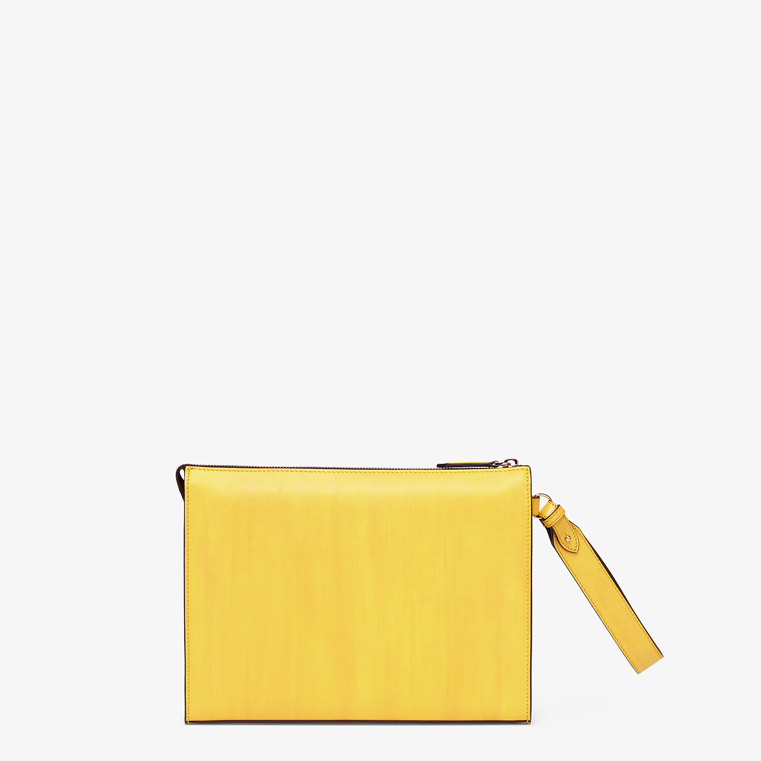 FENDI FLAT POUCH - Yellow leather pouch - view 3 detail