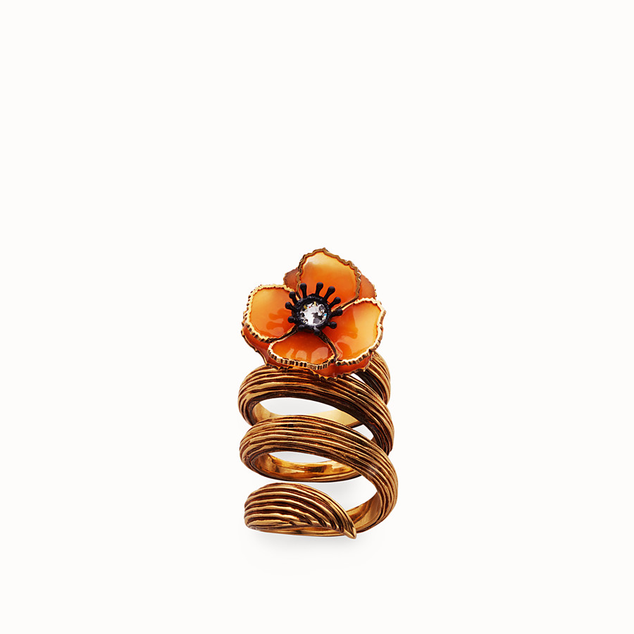 FENDI FLOWER RING - Orange enamel ring - view 1 detail