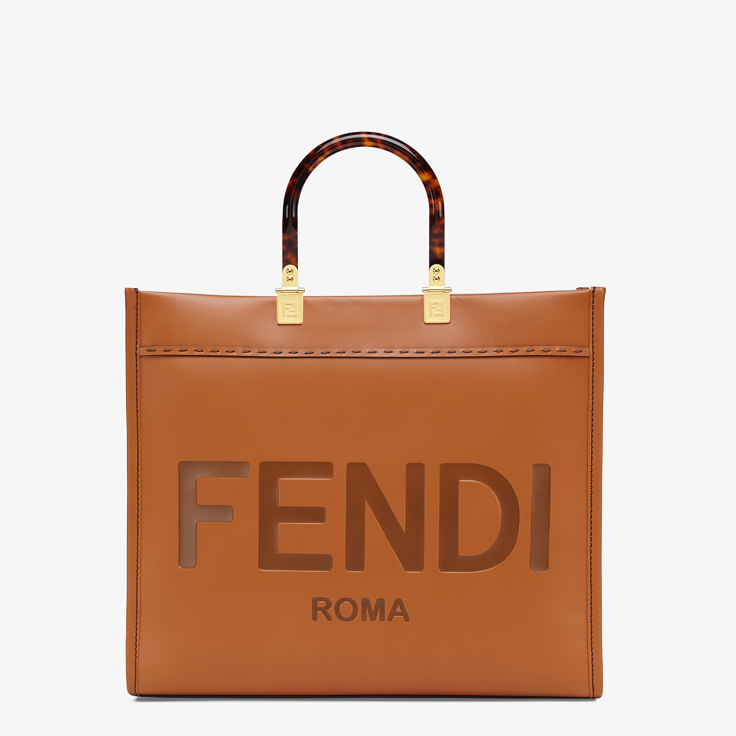 FENDI FENDI SUNSHINE MEDIUM - Brown leather shopper - view 1 detail