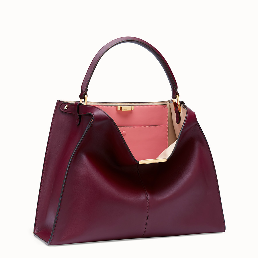 FENDI PEEKABOO X-LITE LARGE - Burgundy leather bag - view 4 detail