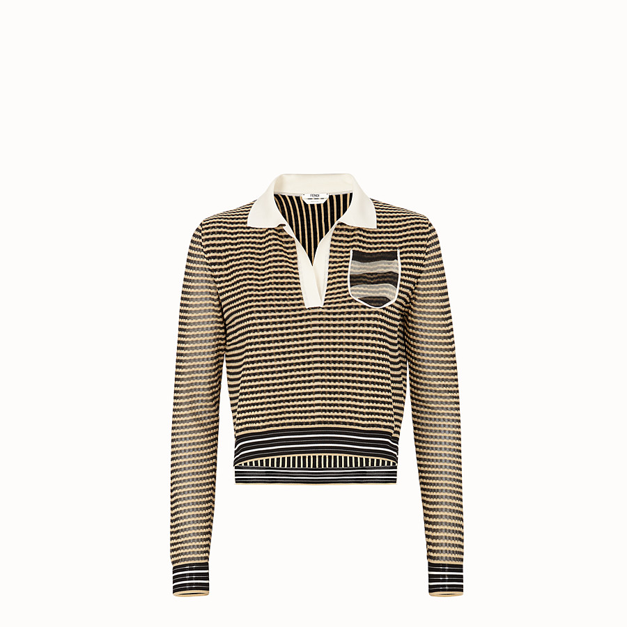 FENDI PULLOVER - Micro-check silk jumper - view 1 detail