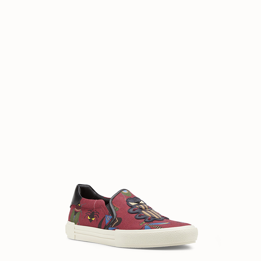 FENDI SNEAKERS - Burgundy canvas slip-ons - view 2 detail