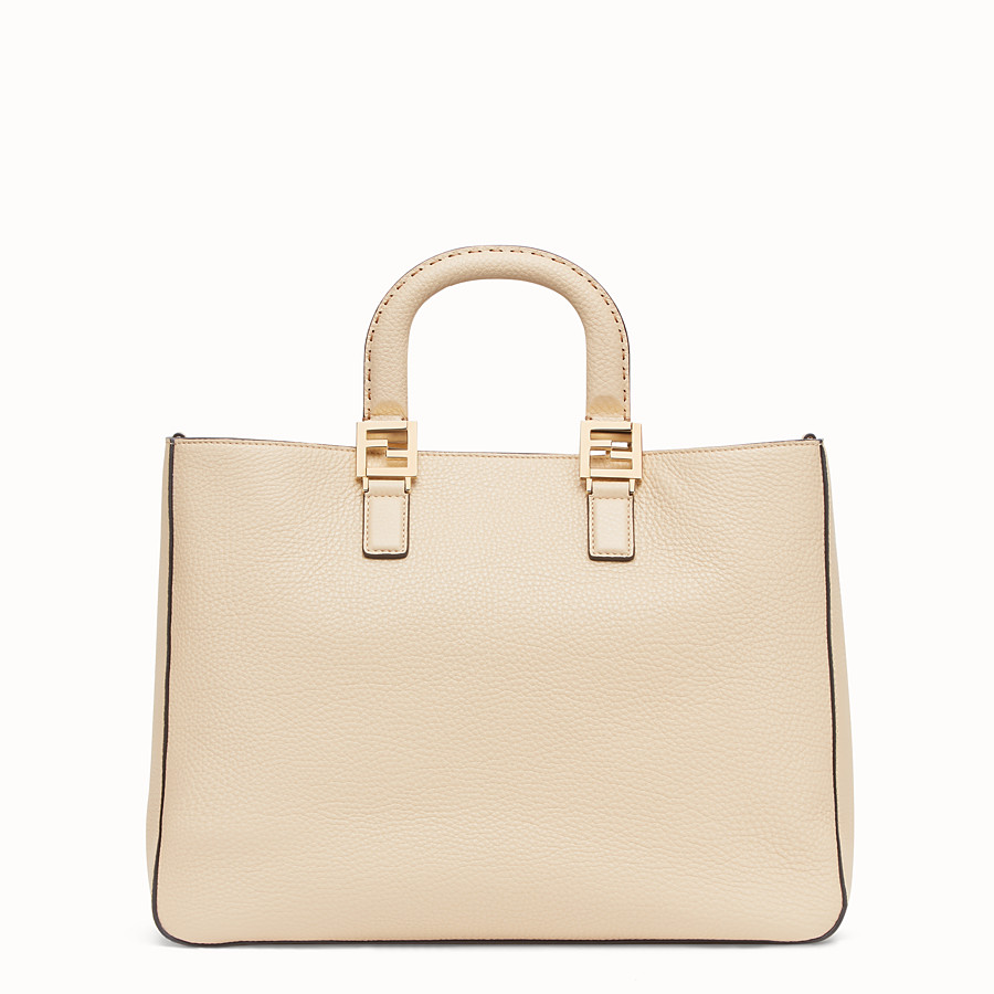 FENDI FF TOTE MEDIUM - Beige leather bag - view 3 detail