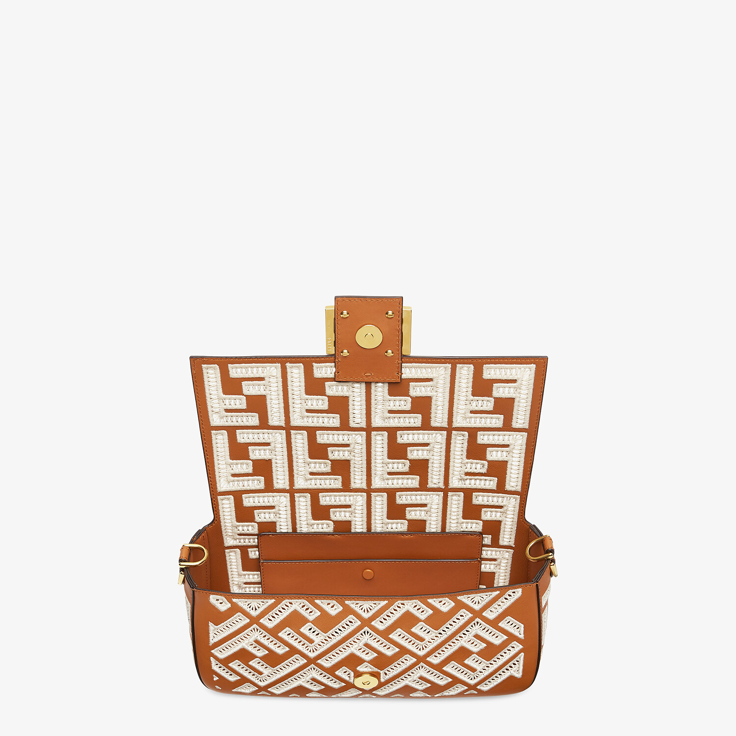 FENDI BAGUETTE - Brown leather bag with FF embroidery - view 5 detail